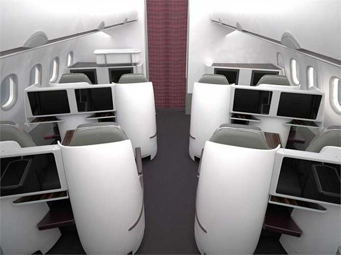 Mỗi ghế ngồi trong khoang thương gia tạo cảm giác thoải mái, riêng tư và ấm cúng.