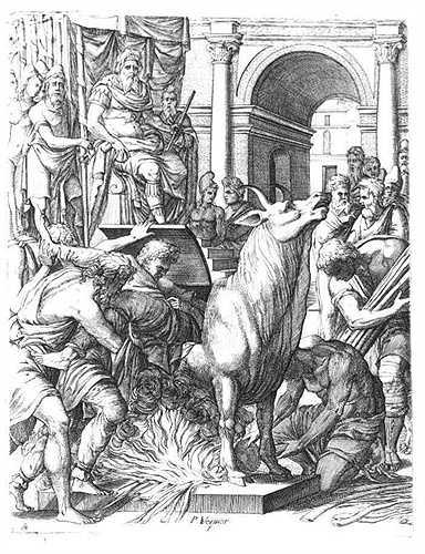 1. Con bò rống. Kiểu tra tấn khủng khiếp ngày bắt nguồn từ Silicy. Người tạo ra nó, Phalaris đã làm một cỗ máy hình con bò với các đường ống đặc biệt khiến cho tù nhân khi bị thiêu sống trong bụng con bò và hét lên, tiếng hét sẽ qua đường ống, phát ra ngoài như tiếng con bò thực sự đang rống lên