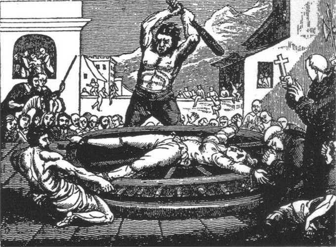 6. Bánh xe Catherine. Tù nhân sẽ bị trói chặt vào bánh xe còn quản ngục sử dụng những roi, gậy gộc để đánh đập. Khi tứ chi đã gãy vụn, tù nhân, bánh xe này được treo lên cao để chim chóc có thể tự do rỉa thịt
