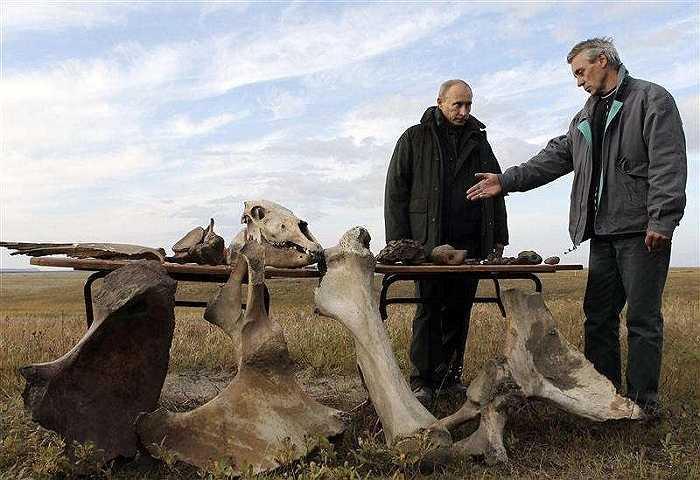 Ông Putin chăm chú nghe một nhà khoa học nói về bộ xương khai quật được trên đảo Samoilovsky