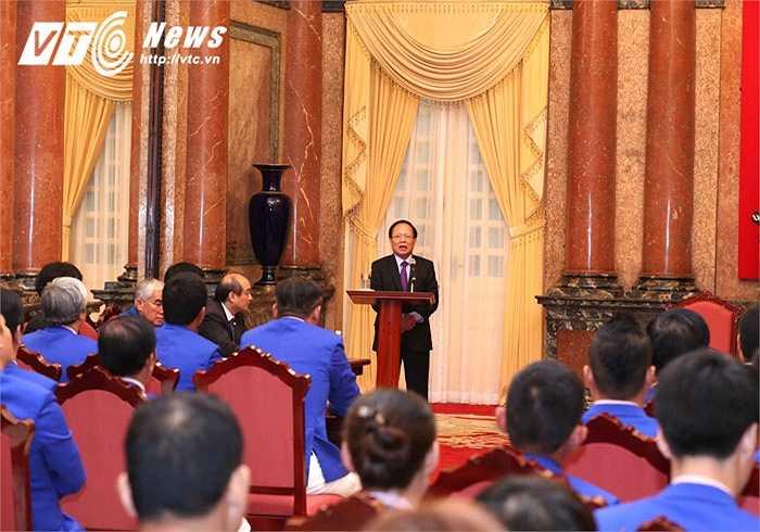 Bộ trưởng Bộ Văn hóa-Thể thao-Du lịch Hoàng Tuấn Anh nêu bật thành tích xuất sắc của đoàn Thể thao Việt Nam tại SEA Games 28.(Ảnh: Quang Minh)
