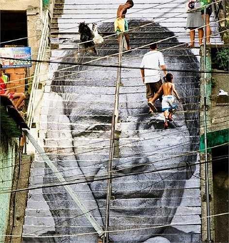 Một bức chân dung khác được vẽ trên những bậc thang trong thành phố Rio de Janeiro, Brazil