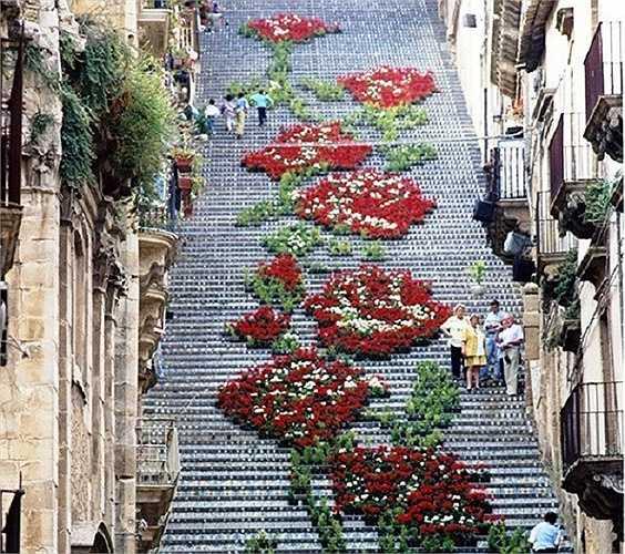 Những bậc thềm hoa ở Caltagirone, Sicily, Italia