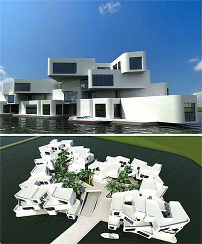 Tổ hợp căn nhà nổi trên biển ở Hà Lan    Những kiến trúc sư Hà Lan cũng đã bắt tay vào việc vẽ kiểu những mẫu nhà nhằm phòng ngừa thiên tai ập đến. Và mẫu có tên gọi 'The citadel' là mẫu chung cư nổi đầu tiên của châu Âu với 60 căn sang trọng, một bãi đậu xe và bến tàu có tác dụng hiệu quả khi mực nước tăng cao bất thường.