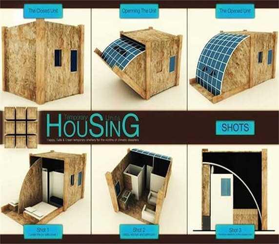 Ngôi nhà di động    Một ngôi nhà di động tạm thời ra đời với một mục đích duy nhất là giúp con người trú ẩn trong những điều kiện khẩn cấp như động đất, lũ quét, hay hỏa hoạn.
