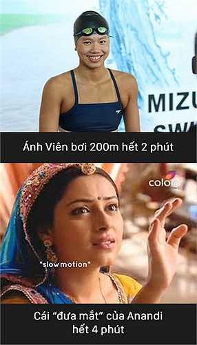 Cái đưa mắt của Anandi tốn gấp đôi thời gian Ánh Viên bơi hết 200m.