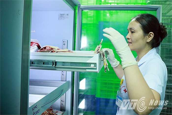 Máu được bảo quản trong những dây chuyền lạnh, Mỗi chế phẩm máu lại có yêu cầu bảo quản ở nhiệt độ khác nhau: Hồng cầu từ 2 - 6 độ C, tiểu cầu từ 20 - 22 độ, bạch cầu là 24 độ và huyết tương là -18 đến - 24 độ.