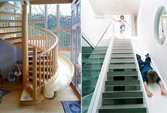 Thay vì dùng cầu thang bộ, người lắm tiền thường thiết kế thêm cầu thang trượt hoặc cầu thang xoắn trong nhà nhằm tăng thêm tính thẩm mỹ cũng như làm nơi vui chơi thú vị cho trẻ nhỏ.