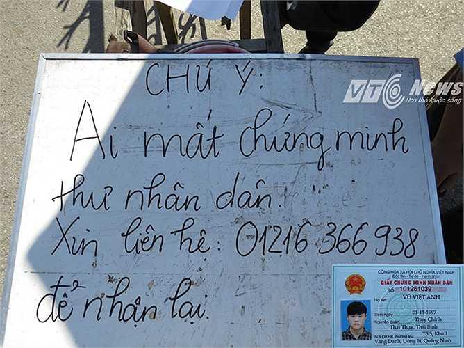 Thí sinh Vũ Việt Anh, sinh ngày 01/11/1997, quê: Xã Chính Thụy, huyện Thái Thụy, tỉnh Thái Bình đánh rơi Chứng minh nhân dân, được SVTN viết lên bảng thông báo để liên hệ nhận lại, tại khu B - Trường Đại học Hàng hải Việt Nam.