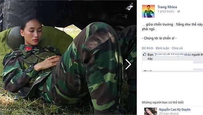 Trên trang cá nhân, Trang Khiếu đăng tải hình cô say sưa ngủ dưới gầm xe tải kèm chú thích: 'Giữa chiến trường. Nắng như thế này thì giặc cũng phải ngủ. Chúng tôi là chiến sĩ'. Người hâm mộ khen ngợi, trông cô rất xinh đẹp khi 'ngủ bụi'.