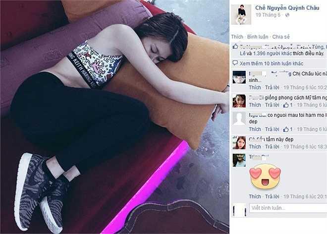 Đồng quan điểm với các đàn chị, người mẫu trẻ Quỳnh Châu viết: 'Ngon giấc ở bất kỳ chỗ nào. Nhất là khi kiệt sức!'. Kèm theo là tấm ảnh cô bị chụp khi ngủ say trên chiếc ghế sofa tại trung tâm thể thao. Chân dài Next Top chú thích thêm, cô tranh thủ ngủ giấc ngắn trước khi dự show sự kiện vào buổi tối.