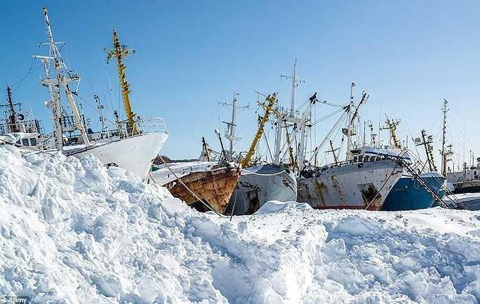Tại Nga, một nhà máy đóng tàu bị bỏ hoang từ lâu. Những tàu chiến đang đóng dang dở được để lại trên nền nhà máy đã hoen gỉ và phơi thân cùng mưa nắng