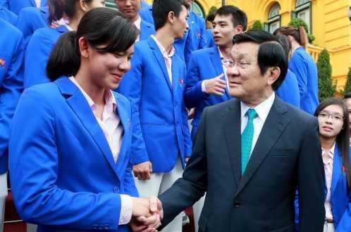 Chủ tịch nước Trương Tấn Sang động viên tinh thần Nguyễn Thị Ánh Viên