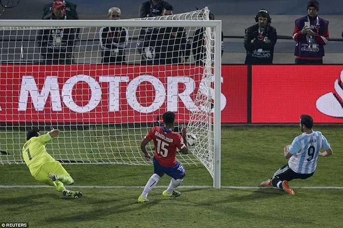 Trước đó, ở phút bù giờ thứ 2 trong thời gian thi đấu chính thức, Higuain cũng bỏ lỡ cơ hội rất ngon ăn khi đệm bóng ra ngoài từ cự ly gần