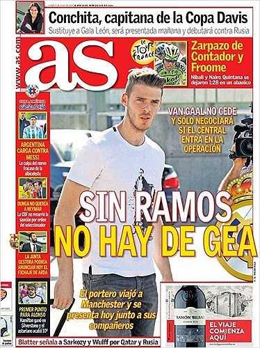 Trước đó, Van Gaal tỏ rõ lập trường cứng rắn trên tờ AS: 'Không có Ramos, không có De Gea'