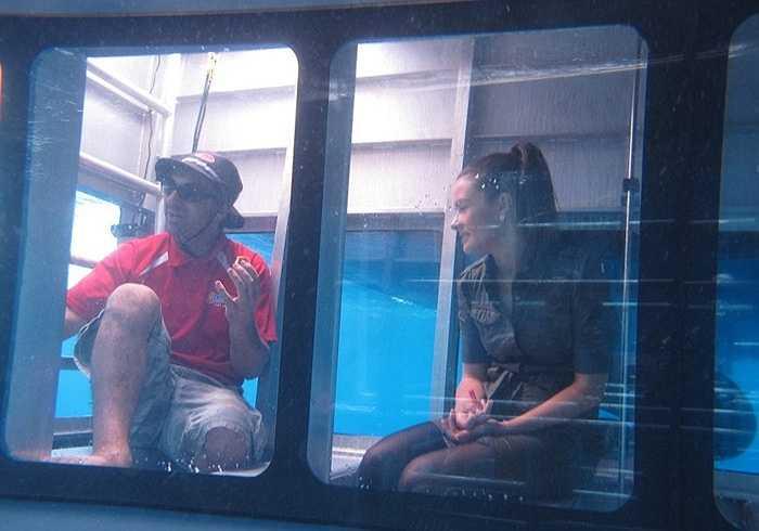 Với buồng ngắm này, du khách không cần mặc áo lặn, bình dưỡng khí như thường thấy. Họ vẫn ngồi trò chuyện và ngắm cá mập, thậm chí chụp ảnh