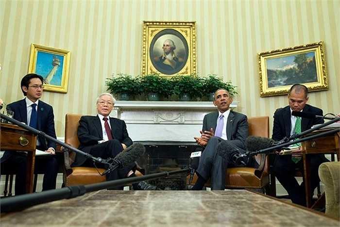 Quang cảnh buổi tiếp Tổng Bí thư của Tổng thống Obama