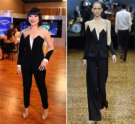 Không chỉ vậy, Mỹ Tâm còn gây sửng sốt với những trang phục đạo, nhái. Bộ đồ này bị nghi ngờ là 'nhái' thiết kế Viktor & Rolf Xuân hè 2007.