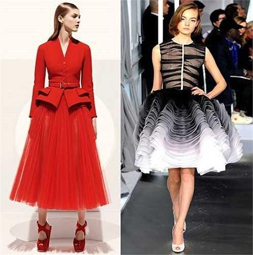 Được cho là sự kết hợp từ chiếc blazer trong thiết kế Dior resort 2013 (trái) và phần chân váy màu loang dáng xòe cũng của thương hiệu này.