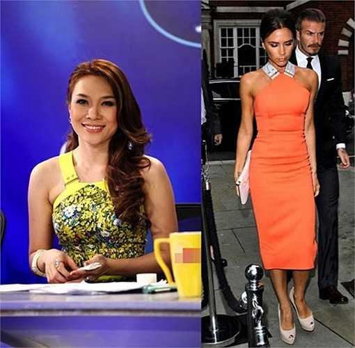 Chiếc váy của cô có phần cổ lấy cảm hứng từ chi tiết quai váy đặc trưng trong bộ sưu tập Victoria Beckham xuân hè 2012.