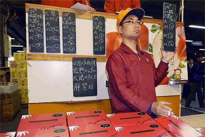 Hồi đầu năm nay, 1 cặp dưa cũng được mua với giá 1,5 triệu Yên, trong khi đó một cặp xoài được mua với giá 300.000 Yên