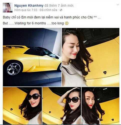 Được biết đến như một mỹ nhân giàu có, nhưng nhiều người vẫn phải sửng sốt khi người mẫu Khánh My đã khoe đặt mua siêu xe Lamborghini Murcielago Roadster.