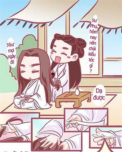 'Tiểu Cốt biết lỗi rồi mà, để chải tóc cho sư phụ nha!'