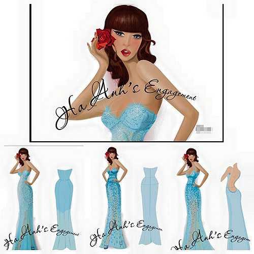 Bản vẽ của chiếc váy được siêu mẫu khoe trên trang cá nhân.