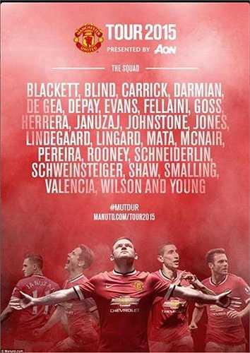 Bản danh sách các cầu thủ Man Utd tham dự tour du đấu tại Mỹ hè này. Marcos Rojo và Di Maria được cho nghỉ phép sau Copa America, trong khi đó Rafael dường như sắp phải rời Man Utd