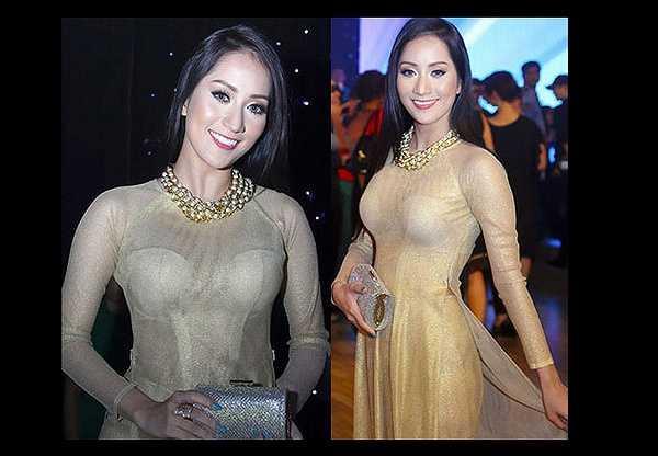 Chất liệu mỏng cũng khiến chiếc áo dài của Khánh Thi không thực sự bắt mắt.