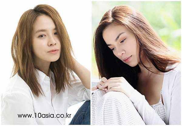 Không khó để nhận ra, gương mặt Song Ji Hyo và nữ hoàng giải trí của Việt Nam đều mang nhiều nét đẹp lai Tây.