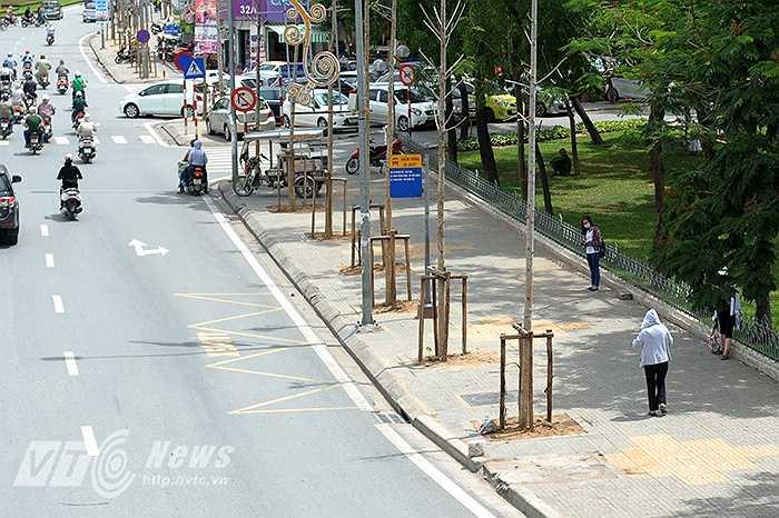 Nhiều người phải đứng nhờ dưới những bóng cây ven hồ Ngọc Khánh để đợi xe buýt. (Ảnh: Việt Linh)