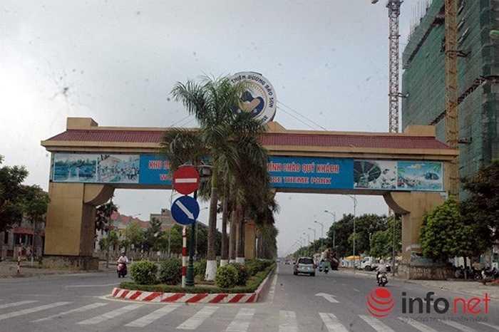 Lối vào hàng trăm ngôi biệt thự ở khu đô thị An Khánh, huyện Hoài Đức, Hà Nội khá hoàng tráng.