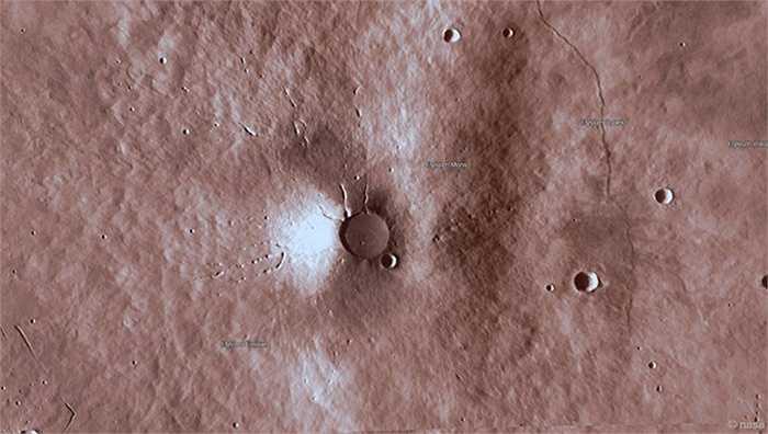 Hình ảnh khu vực núi lửa của sao Hỏa được phóng to. Ảnh: NASA