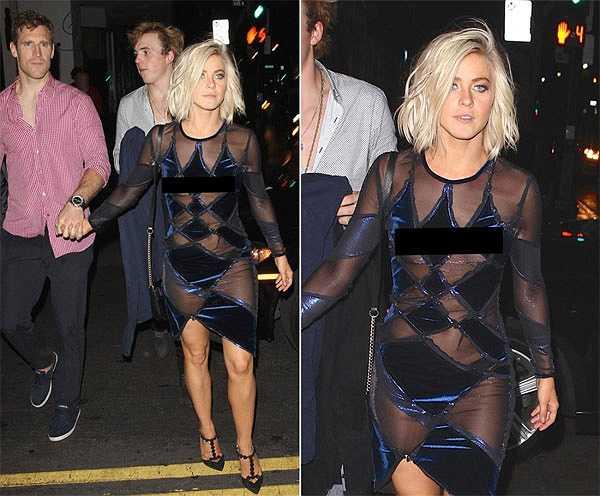 Quán quân 'Dancing with the stars' 2007 Julianne Hough cũng gặp sự cố vì váy xuyên thấu khi tới tiệc tùng tại một nhà hàng ở Hollywood hôm 19/5.