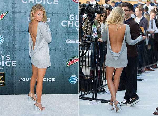 Người mẫu bốc lửa Charlotte McKinney dự lễ trao giải Guys Choice Awards của kênh Spike TV trong bộ váy khóe lưng táo bạo.