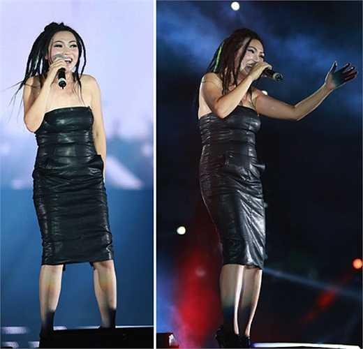Chị Chanh với bộ váy bó không mấy phù hợp  (Nguồn: Khám phá)