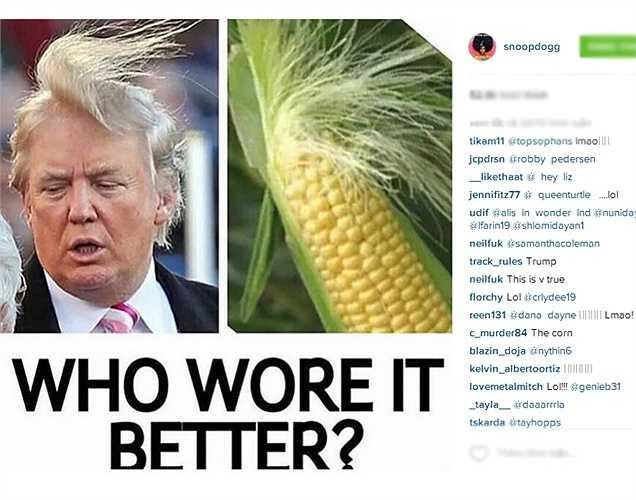 Rapper Snoop Dogg đăng bức ảnh hài hước 'chế' kiểu tóc của 'Ông trùm' Donald Trump.