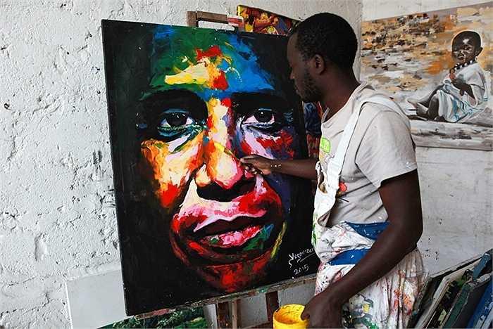Họa sĩ Evans Yegon vẽ hình ông Obama