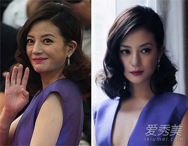 Nữ diễn viên Triệu Vy ảnh thật (bên trái) và ảnh đã qua chỉnh sửa (bên phải)