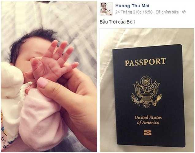 Sau nghi án mang bầu, Maya không chia sẻ thông tin cá nhân trên Facebook. Ngày 24/2, Maya đăng hình cuốn hộ chiếu mang quốc tịch Mỹ với dòng chú thích: 'Bầu trời của bé!'.