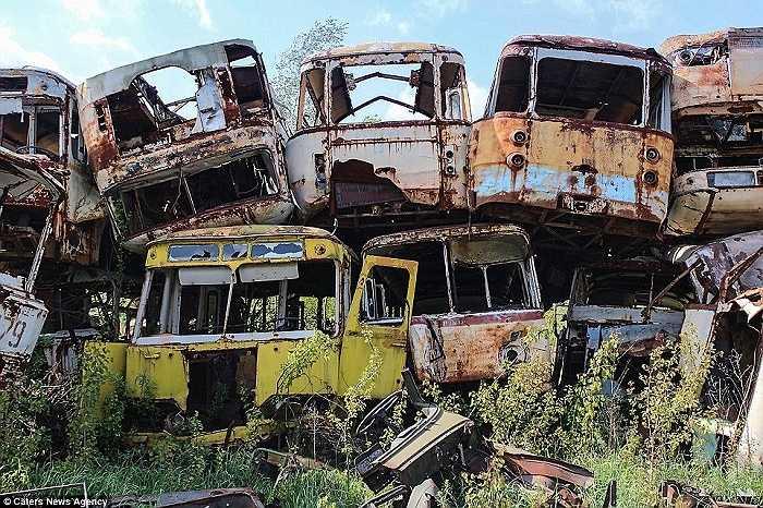 Những chiếc ô tô bị han gỉ, nằm yên sau gần 30 năm