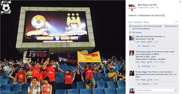 Hình ảnh CĐV Man Utd tại Việt Nam tới xem trận Việt Nam - Man City trên chuyên trang tin tức Man Utd chia sẻ và nhận được sự ủng hộ mạnh mẽ từ rất đông fan Man Utd trên toàn thế giới