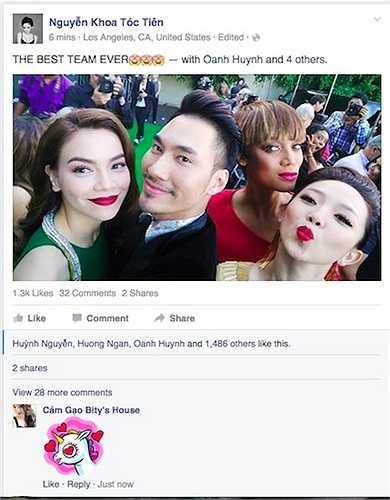 Hình ảnh của Hồ Ngọc Hà, Lý Quý Khánh, Tóc Tiên và siêu mẫu Tyra Banks trên trang cá nhân của Tóc Tiên.  (Trung Ngạn)