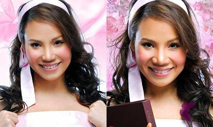 Chiếc mũi của nữ ca sỹ đã gọn hơn nhưng vẫn khá to so với tổng thể khuôn mặt.