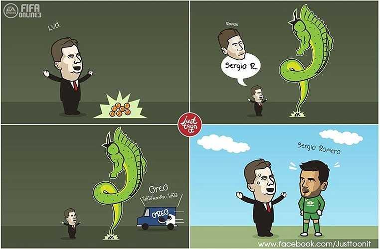 Van Gaal thích Sergio Ramos. Tiếc là rồng thần chỉ mang về Sergio Romero.