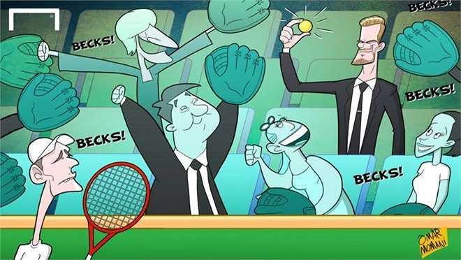 David Beckham bắt được quả bóng tennis khi xem Wimbledon