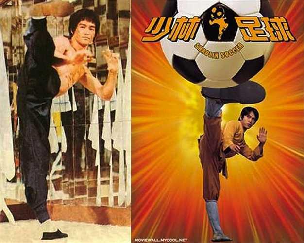 Cú đá chân kinh điển của Lý Tiểu Long không chỉ được Châu Tinh Trì đưa vào phim mà còn dùng để thực hiện poster Đội bóng Thiếu Lâm.