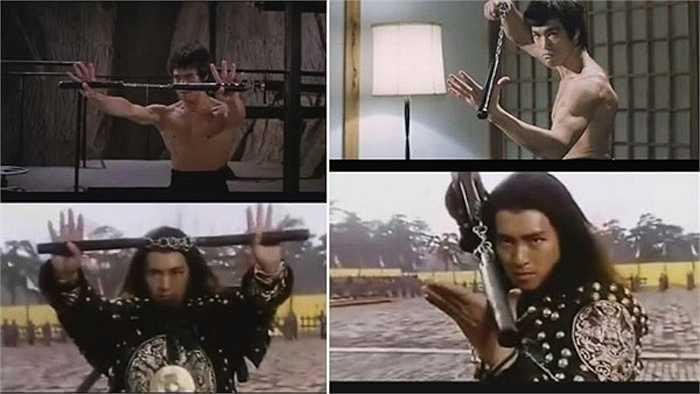 Côn nhị khúc của Lý Tiểu Long được Châu Tinh Trì sử dụng như một loại vũ khí gây cười cho khán giả trong phim Võ trạng nguyên Tô Khất Nhi.