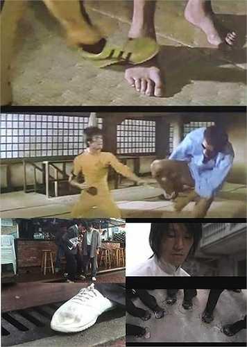 Cảnh Lý Tiểu Long đạp chân đối thủ cao 2m18 trong phim Tử vong du hí được Châu Tinh Trì tái hiện ở tác phẩm Tuyệt đỉnh kungfu.